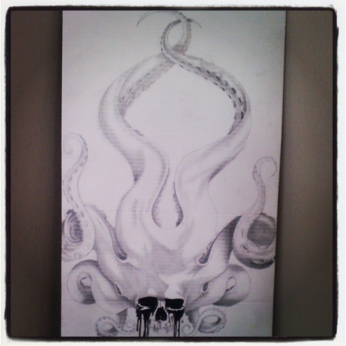 eeshybobeeshy:  Finished the masterpiece. #octopus #tenticles #skull #dripping #paint #pencil #detail #werk #digit