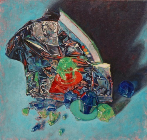 Allan Innman, Ring Pops, oil on canvas mounted to panel, 2012  I tried ring pops for the first time in years….they wouldn't fit on my fat finger