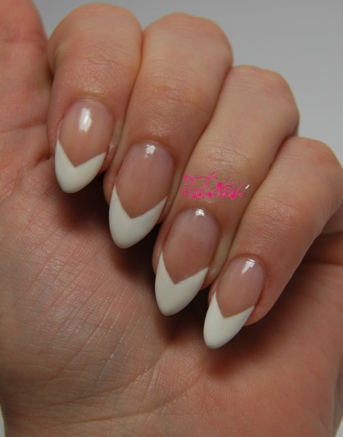 My take on the classic French manicure… I haven't done a French manicure in years. This is probably nail art sacrilege but… I don't really like them. I occasionally like them on other people, if they are done well - but so many that are see are on badly made, shovel-like acrylics and it's kind of ruined them for me. So I decided to try to change it, make it a bit more modern, a bit more 'me'… and I love it! It's kind of 80s, a bit unusual and different. What do you think? Lex :)
