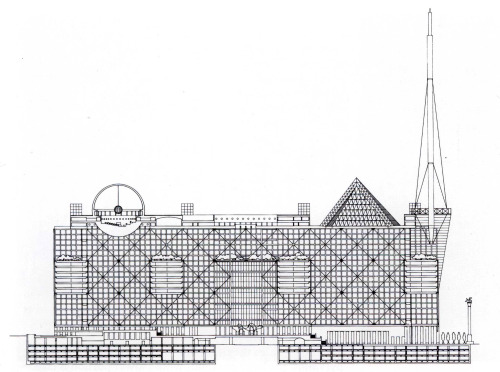 Arata Isozaki, Section of the New City Hall in Shinjuku, Tokyo, Japan, 1985-6 (via archiveofaffinities) Fascinating geometrical examination, embedding primitives within primitives, juxtaposing semiotic archetypes with programmatic archetypes, engaging and disrupting symmetry.