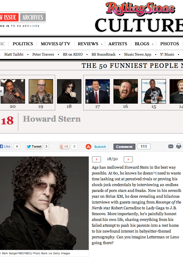 visualexcursions:  HowardStern is #18 On the RollingStone List of THE 50 FUNNIEST PEOPLE NOW