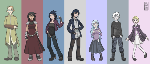 From left to right: Katsuo, Ashling, Soraya, S.J., Anya, Onryou and Arabella.