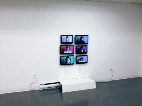 Ongoing/Archival Artist Statement, interactive video project, 2012-2013  In Ongoing/ Archival Artist Statement viewer sees six different videos playing all at the same time that creates a noise. In each video I read a different iteration of artist statement that I wrote for this work.