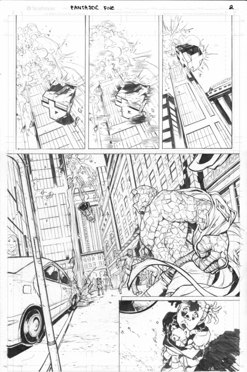 Fantastic Four sample page 2. I finished the first page back in November, but since then have been overwhelmed with other projects to finish and haven't had much time to finish these Marvel sample pages. My schedule is finally freeing up a little now, so more Thing being awesome.