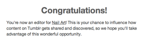 OMG awesome!!! I'm so excited to be a nail art editor! Yay! Big congrats to the other girls that became editor too. I really hope more nail artists and nail art enthusiasts can get a chance to get featured now. :)