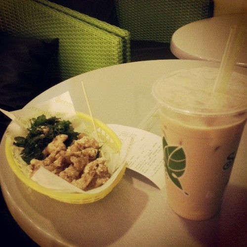 Hokkaido Milk Tea and Chicken Chops from #Serenitea #food #milktea Still delicious despite the mainstream-ness lol. I missed the leaves! :))