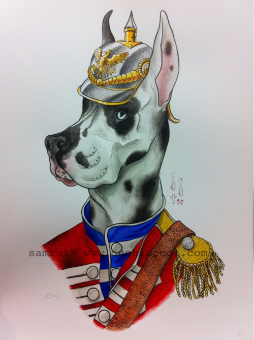 Great Great Dane. watercolour on paper 50x36cm  Just because a tattooer does a painting; doesn't mean it's flash. Please don't take this image without permission.   -Sam Rulz