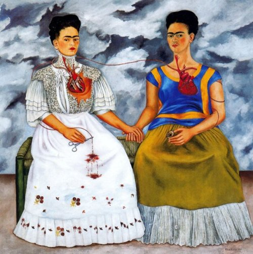 suicideblonde:  Two Fridas by Frida Kahlo