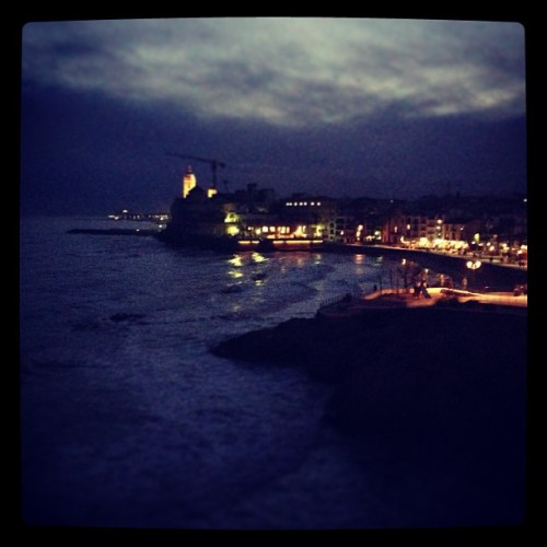 justmecelia14:  Sitges at night #sunset #cloudy #sea #sitges #barcelona #beautiful #night #instagood