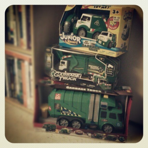 Told Stephen I'd get him a #garbagetruck for #Christmas. Found one of each - rear, front, and side load. Not sure if they're more for him or me… #RC #toys #edutainment #recycling #trucks #collectible #collection