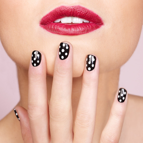 targetstyle:  Polka Dot Nails So easy, even the mani-challenged can do this at home. Paint a basecoat, let it dry for half an hour, and then dot away! own it now: black polish. white polish. .
