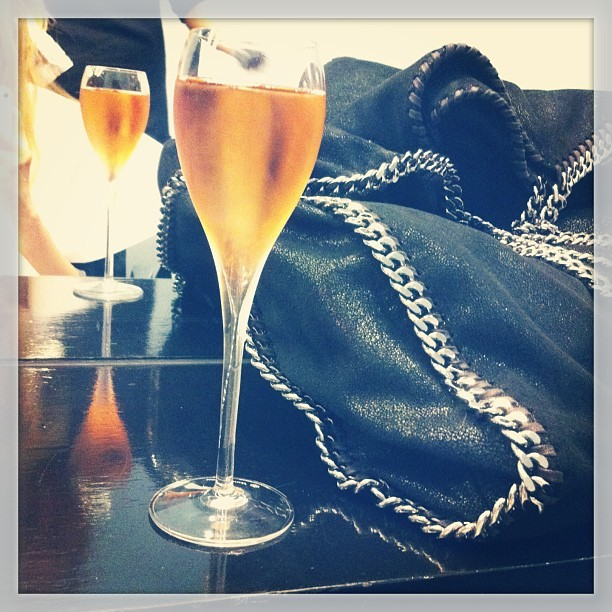 Friday champers at @missfoxmelb! And some much needed tlc for my hair cape.  #indulgence #stellamccartney #bag #falabella