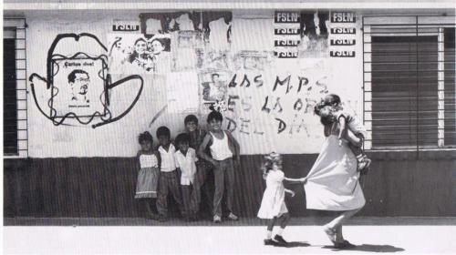 "Photo by Lorenzo Arriaza. Nicaragua, 1980s. ""Las M.P.S"" refers to the Sandinista Popular Militas. On the far left is a stencil of FSLN founder Carlos Fonseca."