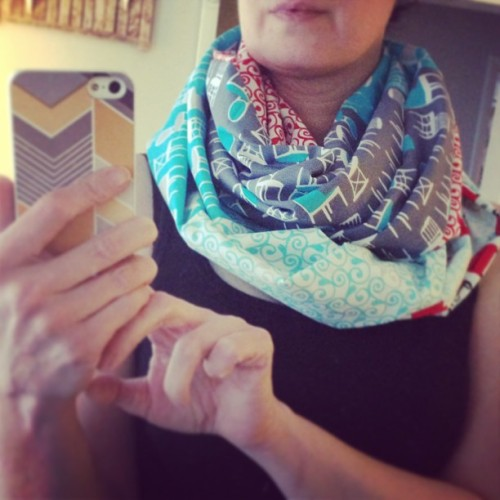 Fat quarter cowl made with fabric from @gather_here #sewing #making #365
