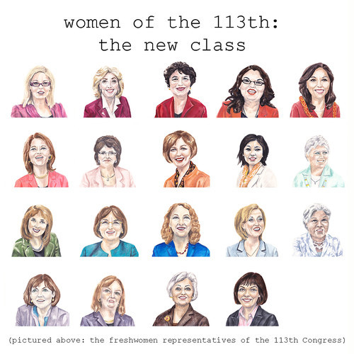 fastcompany:  The sitting Congress has the most women of any in history. Artist Emily Nemens is capturing each of them in paint, and using their likenesses in graphics to show how far we still have to go to bring gender equality to Washington. The women of Congress, in fabulous watercolor infographics