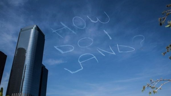 collegehumor:  Comedian Paid Skywriter to Write This in the Sky Finally Kickstarter used for something everyone can agree on.