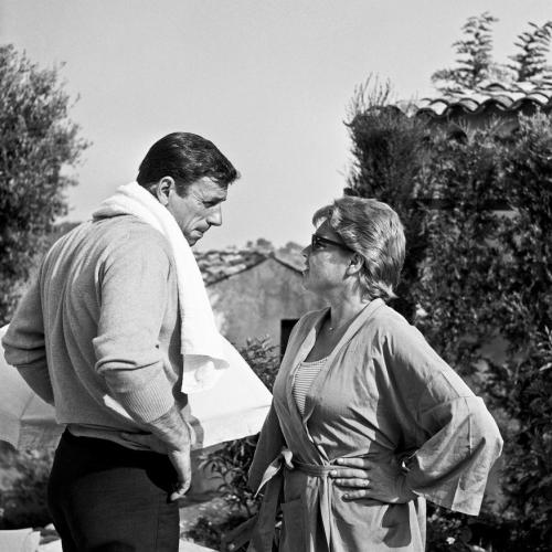 "frenchcinema:  Yves Montand and Simone Signoret filming the show ""Cinépanorama"" during the Cannes Film Festival, 1961"