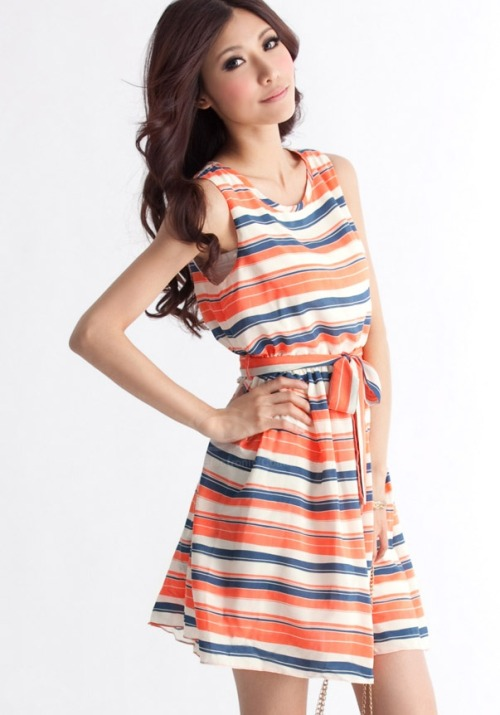 35-24-35:  Sweet Beam Waist Colorful Stripe Cotton Blend Dress