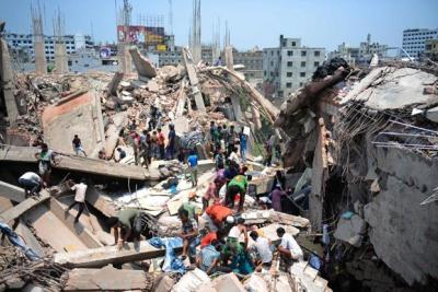 zuky:  Female Garment Workers Bear Brunt of Dhaka Collapse Tragedy Experts say that women, who make up 80 percent of the workforce in Bangladesh's booming garments industry, have borne the brunt of this tragedy. According to initial reports, over 80 percent of those who lost lives and sustained injuries in the collapse were women. [The death toll of the Dhaka collapse stands at 1,021.] Bangladesh's garment industry is now the third largest in the world after China and Vietnam, bringing in 20 billion dollars or roughly 80 percent of the country's annual foreign exchange. Mass-produced and bargain clothes that include such labels as Gap, Primark, HMV, Walmart, Sears and American Apparel are all manufactured here and then sold in the importing countries. More than 5,000 factories employing over 3.5 million workers are packed into high-rise buildings in Dhaka and outlying districts, operating round the clock. Most women sew, wash and pack garments for roughly 30 to 40 dollars a month, working a daily average of 10 hours, seven days a week.