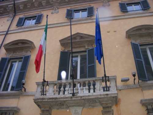 Outside the Mexican Embassy in Rome. There were some people from Mexico in our group and wanted a picture of it.