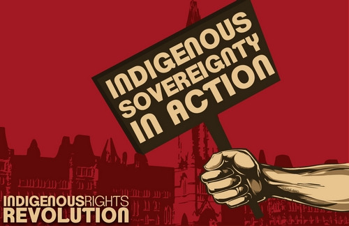 thinkmexican:  The Indigenous Voice Has Spoken!  What happened at Wounded Knee in Pine Ridge, South Dakota, 122 years ago also happened in Mexico and throughout the Western Hemisphere.   They tried eliminating us and called those who murdered our unarmed men, women and children heroes. They gave them medals of honor, promotions, named cities and schools after them.  But as we saw last week when the EZLN mobilized more than 40,000 Zapatistas in Chiapas and tens of thousands of Indigenous people throughout Canada protested as part of the Idle No More movement, we survived and are still here.  The Indigenous voice of this continent spoke for the ancestors and for those yet to be born. Our responsibility to them is to never allow our voice to be silenced by those who still seeking to appropriate our lands and criminalize our existence.  As such, we stand in support of our relatives in Canada fighting for their treaty rights and dignity as First Nations.  Image Credit: IdleNomore.com
