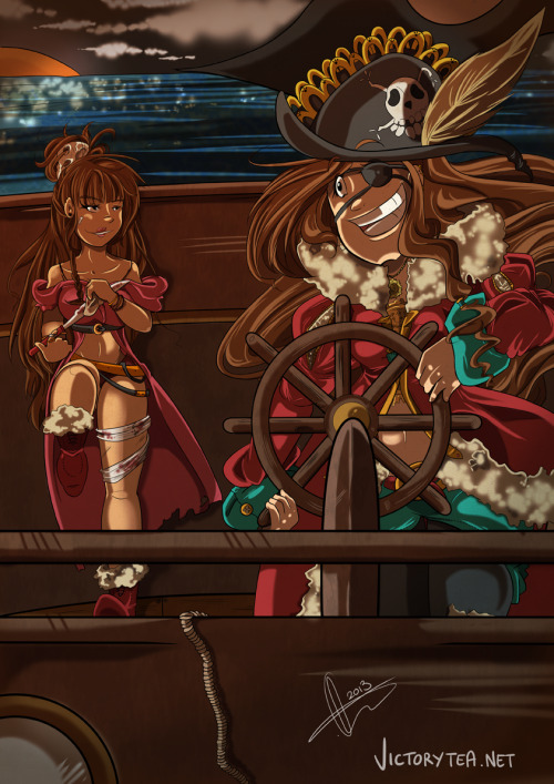 idougit:  victorytea:  Oh and I almost forgot!Yarrrrr! Pirates i drew a while ago. yarrrrr! Happy birthday again Aicha!  holy fucking fuck that is amazing.