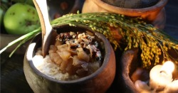 medievalvisions:  Millet porridge with herbs and stewed apples.