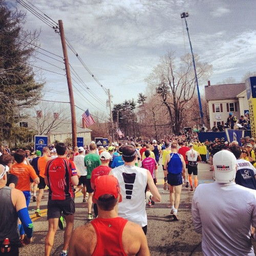 I'm off! (at Official Boston Marathon Start Line)