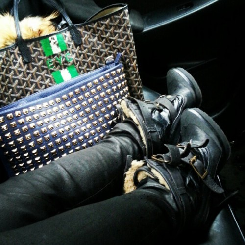 evachen212:  accessories of the day: @burberry boots I definitely don't wear often enough, @thatsfoxyfashion studded clutch (using it as Macbook case), #goyard tote #thatsfoxy