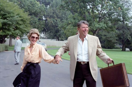 President and Nancy Reagan arriving in Washington DC via Marine One from Camp David . 9/12/82.