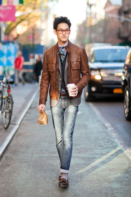 JC Chang Account Executive, GANT Rugger Leather jacket: Vintage Inner jacket, vest, jeans: GANT Rugger Tie: J. Crew Tie bar: The Tie Bar Pocketsquare (unseen)): The Hill-side Socks: GANT Loafers: Crockett & Jones Glasses: Robert Geller
