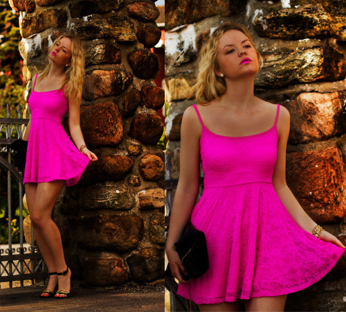 ph1lm:  (via H&M Neon Pink Lace Dress, Sandals With Gold...