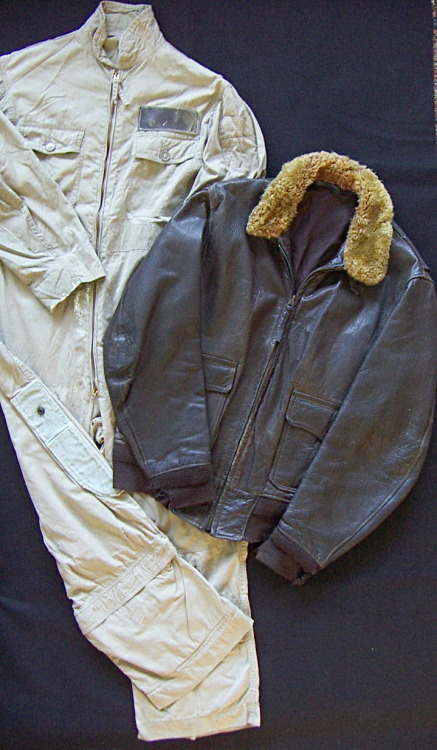 Ensign L. D. Houser's, USNR 1940's khaki flight suit with rigger made scabbard and M422a flight jacket.