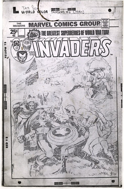 Full sized photocopy of Jack Kirby's pencil art for the cover to Invaders 6, from 1976