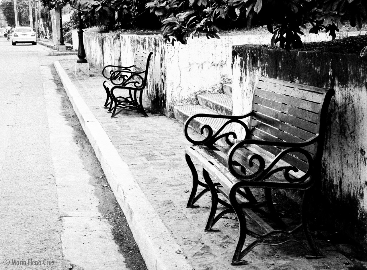 Wrought iron benches. Old world charm.