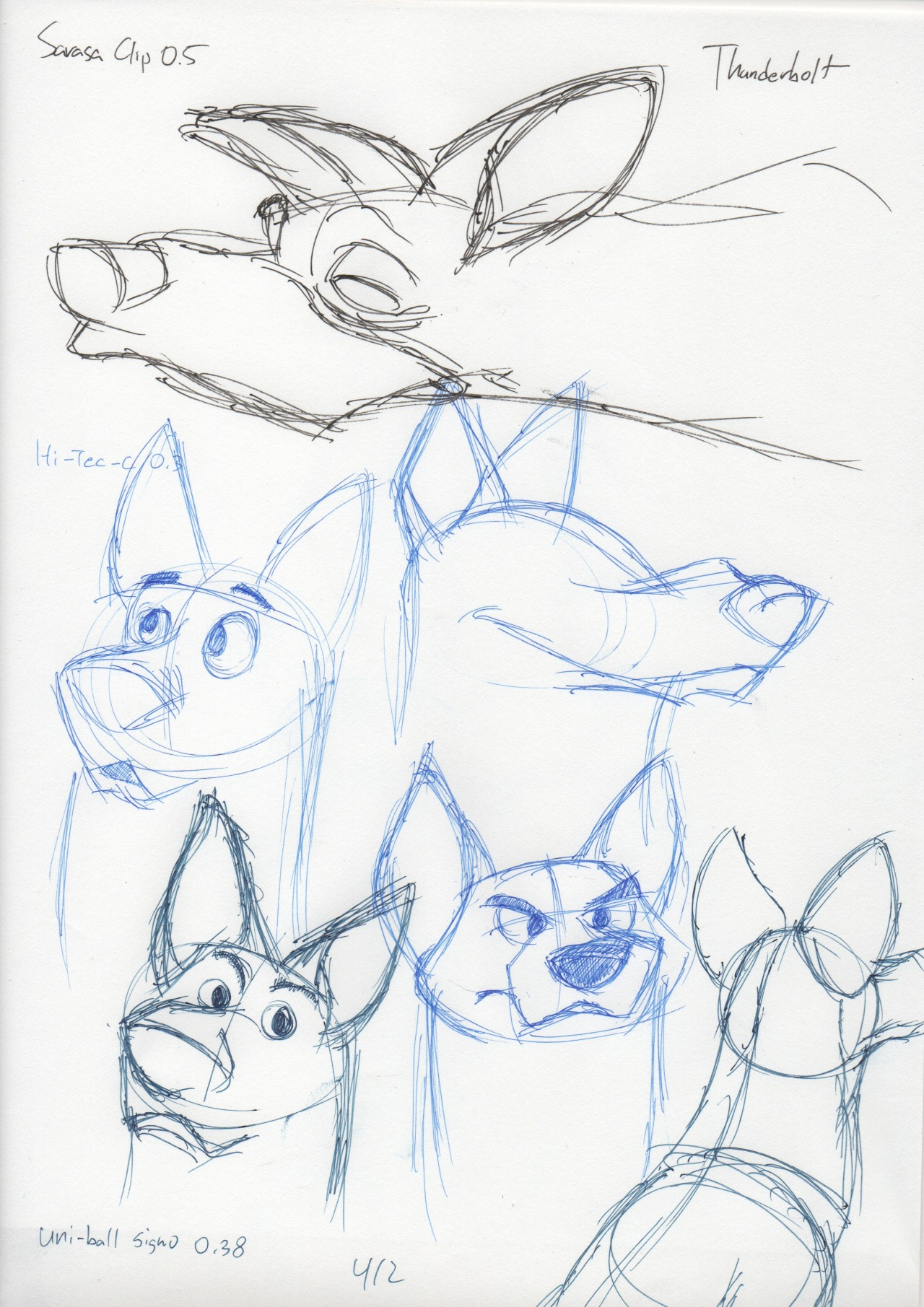 Disney dogs study (from reference, Thunderbolt and Pup.) Takeaways: flat-top head, squared muzzle, mouth line well-behind eyes, nose extruded.