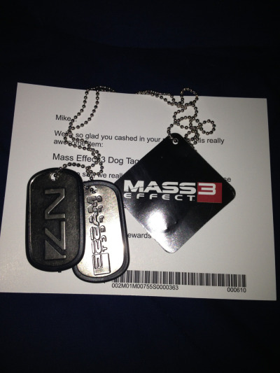 straightedgejuggalo:  Booyah!  I also have there, but i took the Mass Effect 3 one off and replaced it with my own tag from when i was in the Marine Corps.