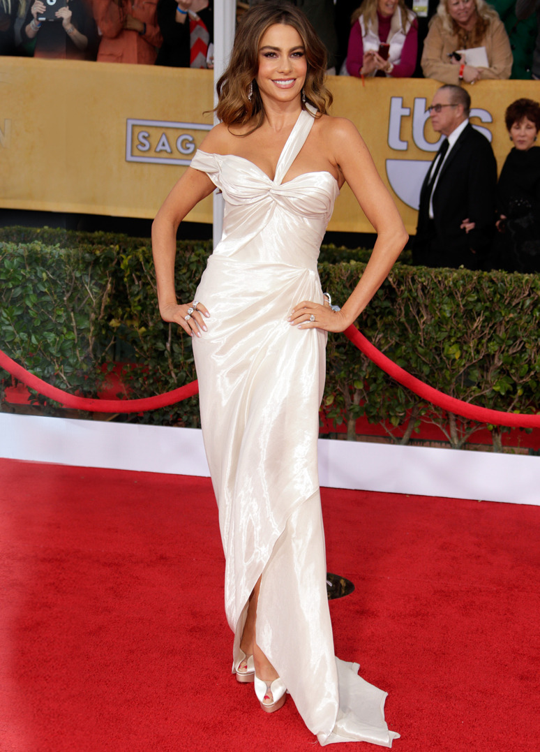 SOFIA VERGARA Actress Sofia Vergara wore a custom made Donna Karan Atelier gown to the 19th Annual Screen Actors Guild Awards on January 27, 2013 in Los Angeles, California. Credit: Jeff Vespa/WireImage
