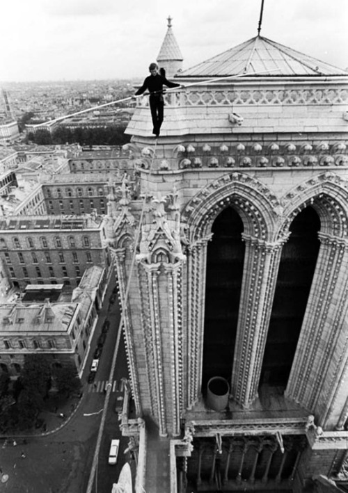 mordmardok:  Philippe Petit between the towers of Notre Dame de Paris - 1971