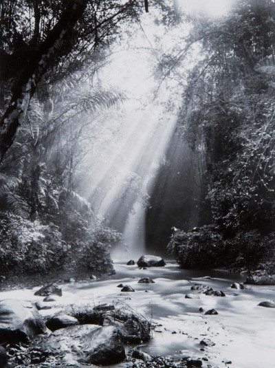 beingindonesian:  Crepuscular rays at Dago waterfall, Bandung, West Java, Indonesia (by Jeff McNeill)