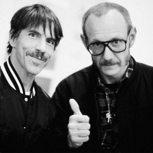 Anthony Kiedis and Photographer Terry Richardson at Richard Prince's Cowboys Exhibition at the Gagosian Gallery in Beverly Hills on February 21st, 2013.