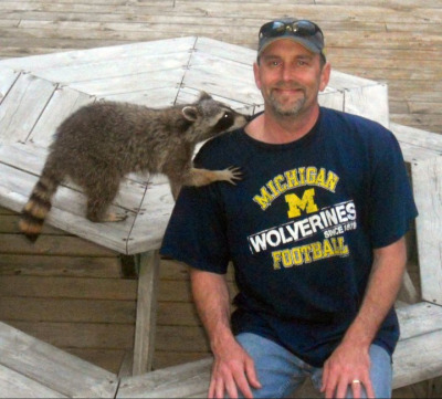 A #michiganman and his trusty pet raccoon