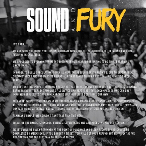 Sound & Fury 2013 CANCELED www.soundandfury.com