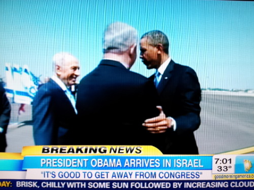 "President Obama has landed in Israel.  ""BUT HE'S FOUR YEARS LATE!!!!!!!!"" conservatives will continue to yell, conveniently ignoring Obama's repeated statements of support for Israel and the, I don't know, $50+ billion or so that the U.S. gives Israel in foreign aid every year.  Aside: love the swipe at Congress, which has a popularity rating  around 11 percent. But watch them yell about that, too."