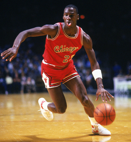 theiloveuglyblog:  siphotos:  Michael Jordan drives to the hoop during his rookie season with the Chicago Bulls. (John Biever/SI) GALLERY: Classic Photos of Michael Jordan  I Love Ugly
