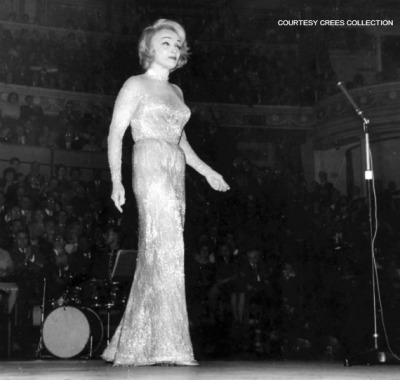 Marlene Dietrich performs at an El Alamein reunion at Royal Albert Hall. London, 1963. (Photo: Crees Collection)