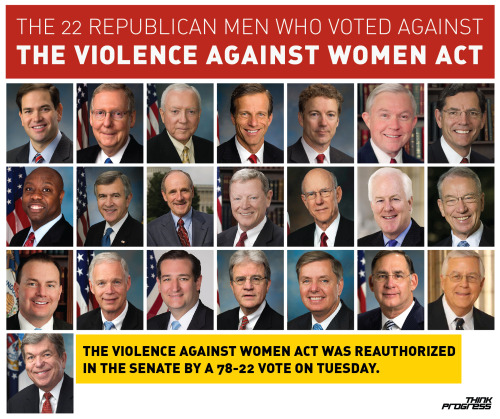 The Senate finally reauthorized the Violence Against Women Act today (no thanks to these guys). h/t Think Progress.