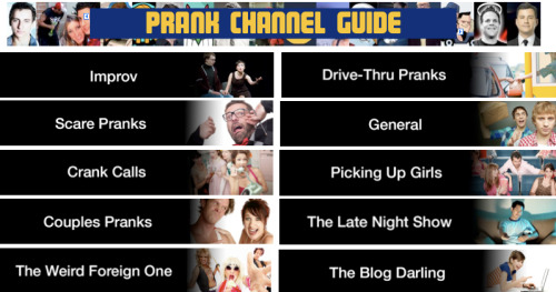 A Comprehensive Guide to Prank Channels on YouTube [Click to see] In honor of April Fool's Day, here is our comprehensive, categorized guide to Youtube Prank Channels, because the true joke was you thinking you were gonna get any work done today: Continue