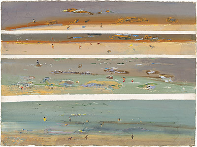 "(Fred Williams. Beachscape with bathers, Queenscliff IV  (1971))    Epiphany IV   (Imants Tillers; my English translation) May I leave for a brief moment… I was allowed, and I only returned in the evening. No bull, I didn't want to lie, I forgot myself and my mum, because what I encountered, was stronger than me. [[MORE]] The sea was stronger. The dunes were stronger, and that whole childish tangled ball I couldn't untangle. This sense of freedom, primitive and bare-bellied. I forgot to go for lunch, I forgot you can't make a fire get in the heath, I forgot you can't sock someone in the nose. If they knocked over your sand castle. I returned dirty and unfed in the evening, and promised from my heart, that I would never behave like this again, but in the morning I awoke: I knew this room, I recognised this fence - one could die here - I was so filled with self-pity. I didn't lead the chickens out. I observed, how they wandered into the neighbour's area and stayed there. As if there were different worms or different tomato beds there, from ours. Why did they creep there? But they crept. The neighbour boys were knocking there legs from under them, and gave them pieces of bread stuck on a hook, yet still they crept there. Did that rooster then, leading the chickens into another garden, also think - ""just for a moment""? But the raspberries were red and low for the picking, all is an excellent dark green and different than with us, and the flower bed didn't have a mesh around it. Once I didn't return. Can a drop tell an icicle from which it falls - ""one small moment""? Or maybe an arrow can fly for just an instant? That's how I left. Cruel? Cruel. But I can't say anything about that. I know moments that last like days, and days that are brief moments. I have found it so hard to stay myself. With a snag in the river, a river full of stones. I went with the stream. Now I myself am a rock, and she sits on my warm surface and watches the water. Here is warm, the sun shines, here is nice, the linden blossoms, and she dips her bare feet in the water. But the water flows. She definitely feels it. The water flows and shimmers, and glistens in her hair and eyes, and now she will arise and say: ""Could I go? Just for a moment…"" I know, what that means. She will wade across to the far shore, in the flowers a butterfly will be resting there, it will lift its wings, fly along the bank, fly upstream, fly downstream - it's all the same really. - surely a drop falling from an icicle can't fall for just a moment. An arrow in its arc. One cannot. —- The Latvian original: Vai es drīkstu aiziet uz mazu brītiņu… Man atļāva, un es pārnācu tikai vakarā. Esnekrāpos, es negribēju melot, es aizmirsu sevi un māti, jo tas, ko satiku, tas bijastiprāks par mani. Jūra bija stiprāka. Kāpas bija stiprākas, un no visa tā bērnu kamola es nespēju izķepuroties. Šī brīvības sajūta, pirmatnējā un plikvēderainā! Es aizmirsu iet pusdienās, es aizmirsu, ka nedrīkst uguni laist viršu pudurī, es aizmirsu, ka nedrīkst otram dot pa degunu. Ja viņš ir izārdījis tavu smilšu kūku. Vakarā es pārnācu netīrs un neēdis, es solījos no visas sirds tā vairs nedarīt, bet no rīta pamodos: šo istabu es zināju, šo sētu es pazinu – te varēja nomirt – tāds žēlums par sevi. Vistas es neganīju. Es vēroju, kā viņas ieiet kaimiņu daļā un atpakaļ vairs nenāk. It kā tur būtu citādas sliekas vai citādas tomātu dobes, ko izkārpīt, nekā mūsējās. Ko viņas tur līda? Bet līda. Kaimiņu puikas dauzīja viņām kājas nost, deva rīt uz āķa uzspraustus maizesgabaliņus, un tomēr viņas līda. Vai tad gailis, kas veda vistas citā dārzā, arī nedomāja–""tikai uz mazu brītiņu""? Bet avenes bija sarkanas un zemu pa knābienam, aka viņsētā koši zaļa un savādāka nekā mūsējā, un puķu dobēm nebija apvilkts apkārttīkls.Vienreiz es nepārnācu.Vai piliens var pateikt, no lāstekas atrāvies,-""uz mazu brītiņu""? Vai varbūt bulta var aizlidot uz mazu brītiņu? Tā es aizgāju. Tagad aiziet viņa.Nežēlīgi? Nežēlīgi.–Bet es tur neko nevaru teikt. Es zinu mirkļus dienas garumā un dienas mirkļa īsumā. Man pašam ir bijis tik grūti palikt–ar siekstām upē, ar akmeņiem strautā. Es gāju strautam līdzi. Tagad es pats esmu akmens, un viņa sēž uz maniem siltajiem sāniem un skatās ūdenī. Te ir silti, spīd saule, te ir jauki, zied liepas,un viņa mērc basās kājas ūdenī. Bet ūdens tek. To viņa noteikti jūt. Ūdens tek un vizuļo, un atviz viņai matos un acīs, un tagad viņa piecelsies un teiks: ""Vai es varu aiziet? Uz vienu mirklīti…"" Es zinu, ko tas nozīmē. Viņa pārbridīs otrā krastā, tur ziedos guļ taurenis, tas pacelsies spārnos, lidos gar krastu, lidos pret straumi, lidos pa straumei – vai nav vienalga. –nevar taču piliens no lāstekas atrauties tikai uz mazu brītiņu. Sniegs no debesīm. Bulta no loka… Tikai uz mazu brītiņu… Nevar taču!"