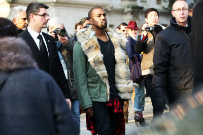 Kanye West at Paris Fashion Week.